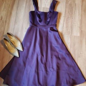 Purple Satin Tea Length Dress